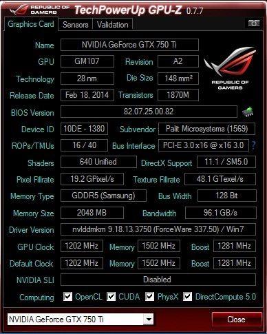 Palit GeForce GTX 750 Ti StormX Dual