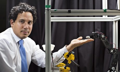 Neuroscientist Dr Aldo Faisal with his eye-tracking system