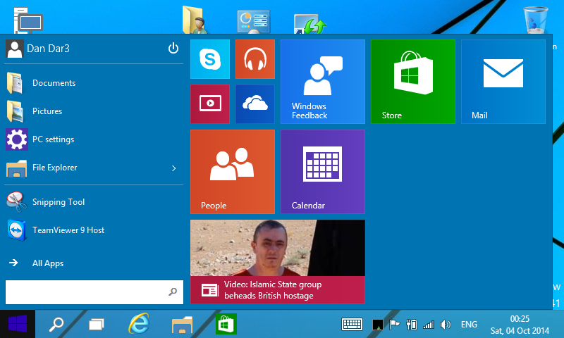 20141004 - ASUS R2H - Windows 10 Technical Preview - Start Menu