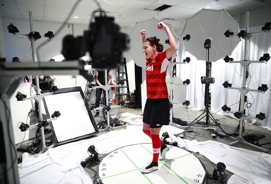 Canadian Women's Soccer Team visits the EA MOCAP facility at EA Canada in Burnaby