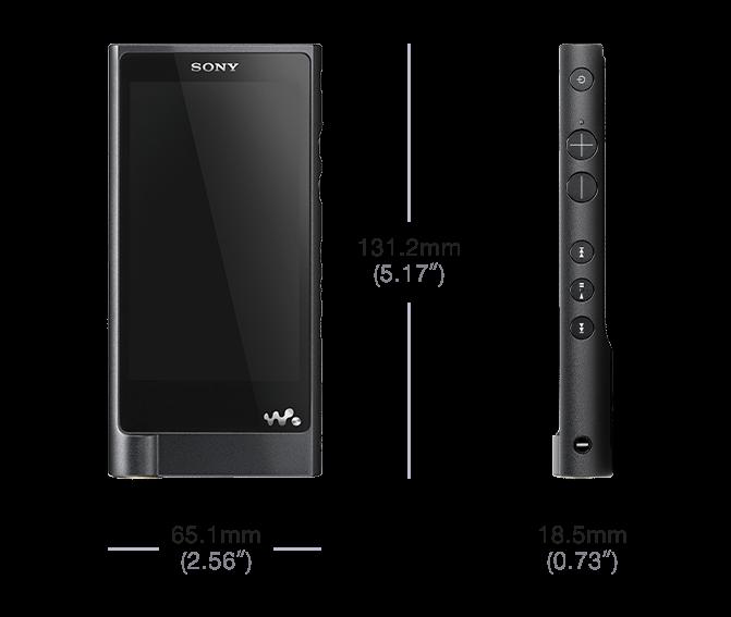 Sony Walkman NW-ZX2 size