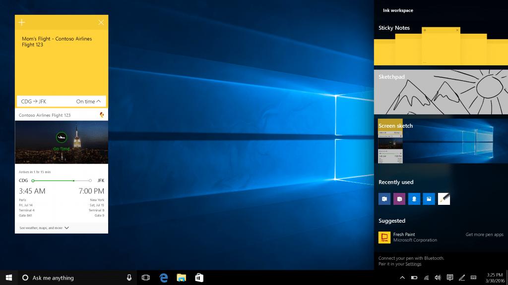 Windows 10 Anniversary ink