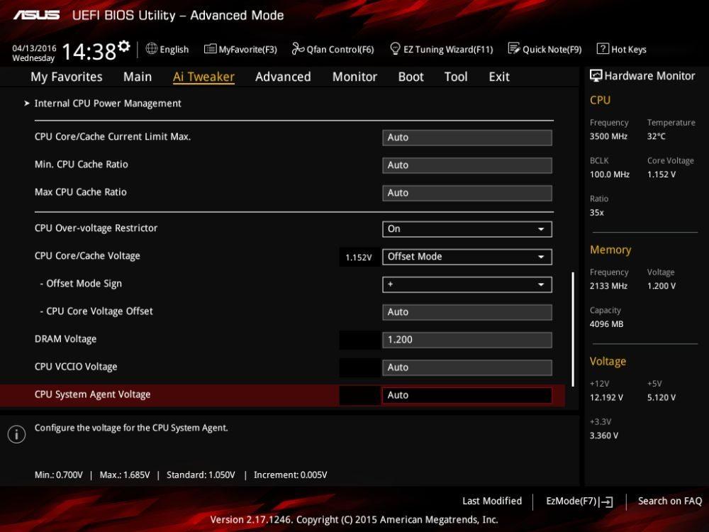 ASUS Z170I Pro Gaming voltage