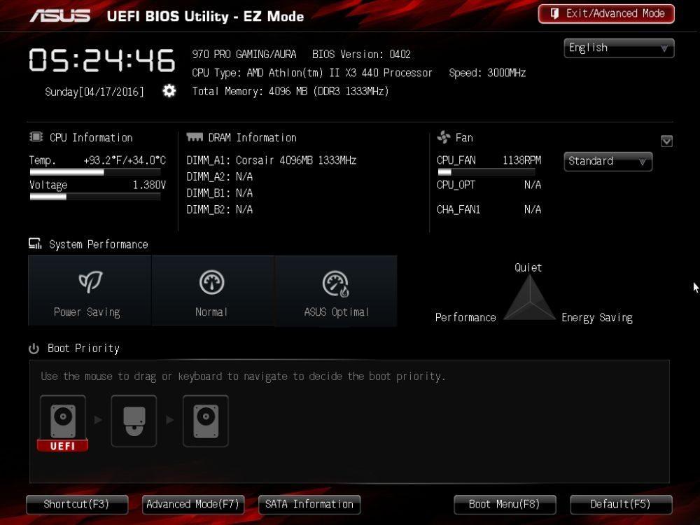 ASUS 970 PRO Gaming/Aura uefi