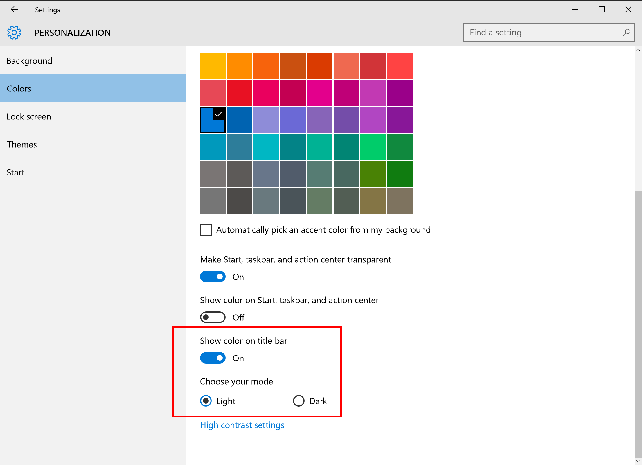 personalization updates colors windows 10