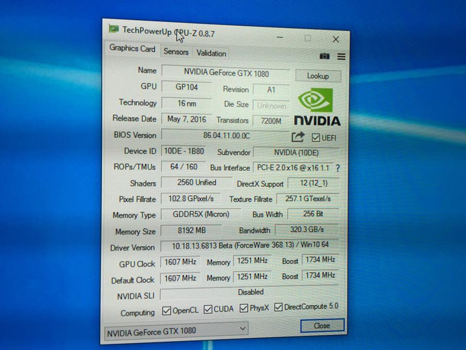 NVIDIA GeForce GTX 1080 GPU-Z