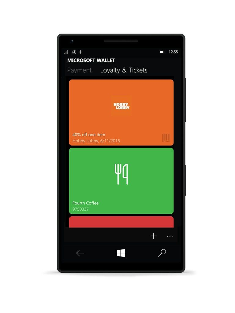 Microsoft Wallet interface