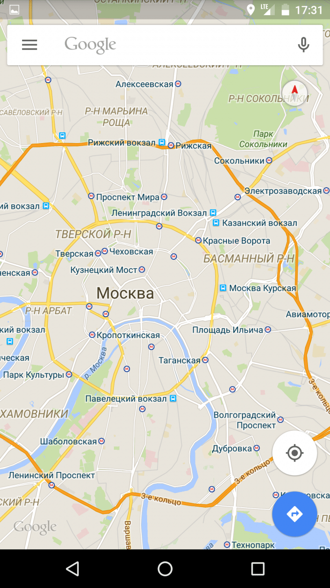 Huawei Nexus 6P moscow map