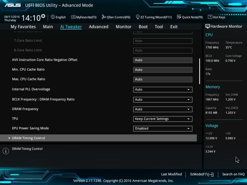 UEFI BIOS settings