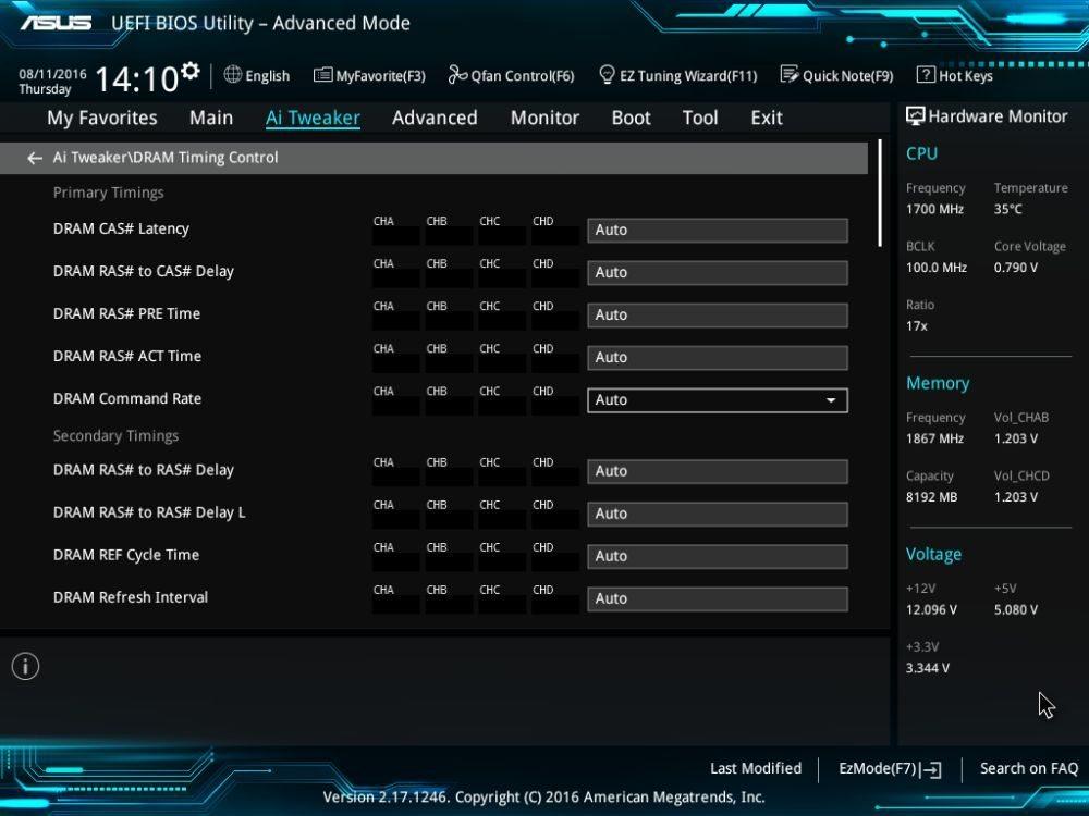 UEFI BIOS тайминги