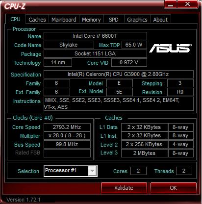 ЦП определен как Intel Core i7 6600T