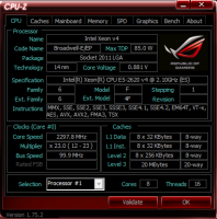 материнской платы ASUS ROG Strix X99 Gaming cpu-z