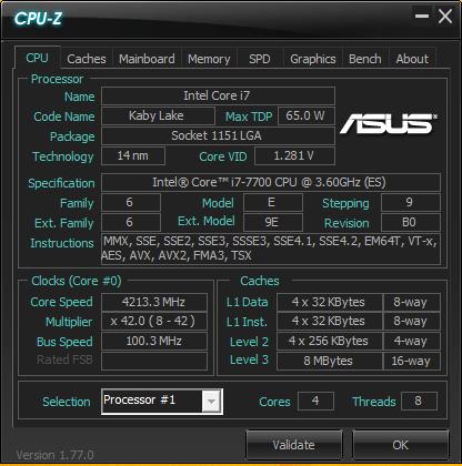 intel 7700 cpu-z
