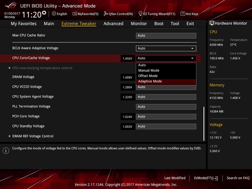 Для CPU/Cache Voltage (CPU Vcore) выбираем Adaptive Mode
