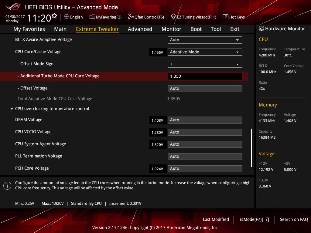 Для Additional Turbo Mode CPU Core Voltage устанавливаем значение в 1,30 В