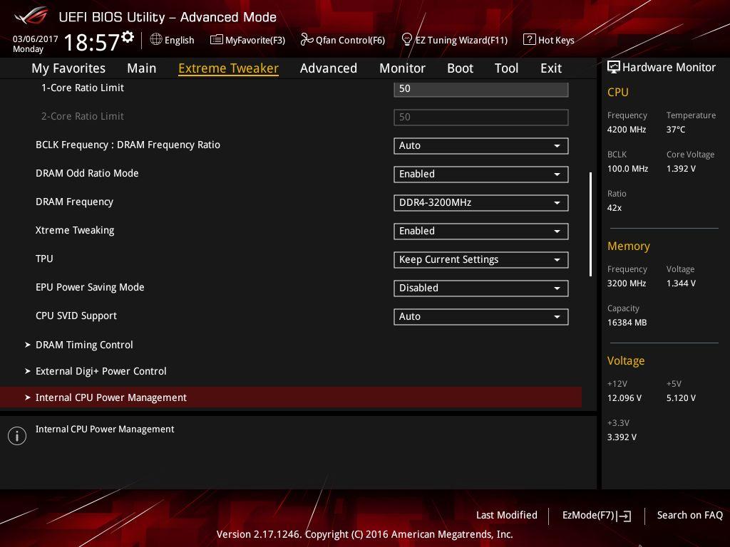 Вкладка Internal CPU Power Management