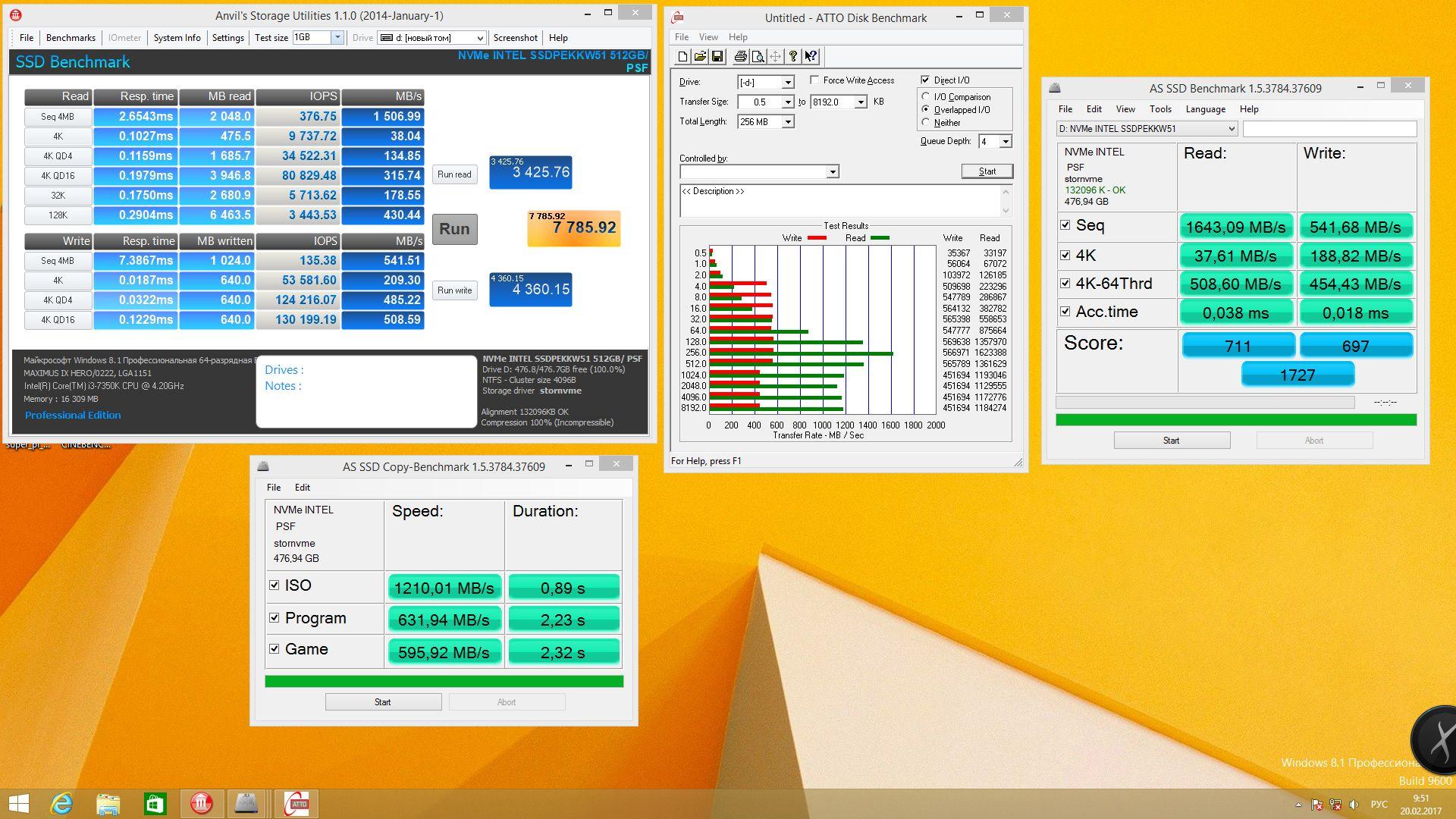 Intel SSD 600p 512 Гбайт в чистом виде