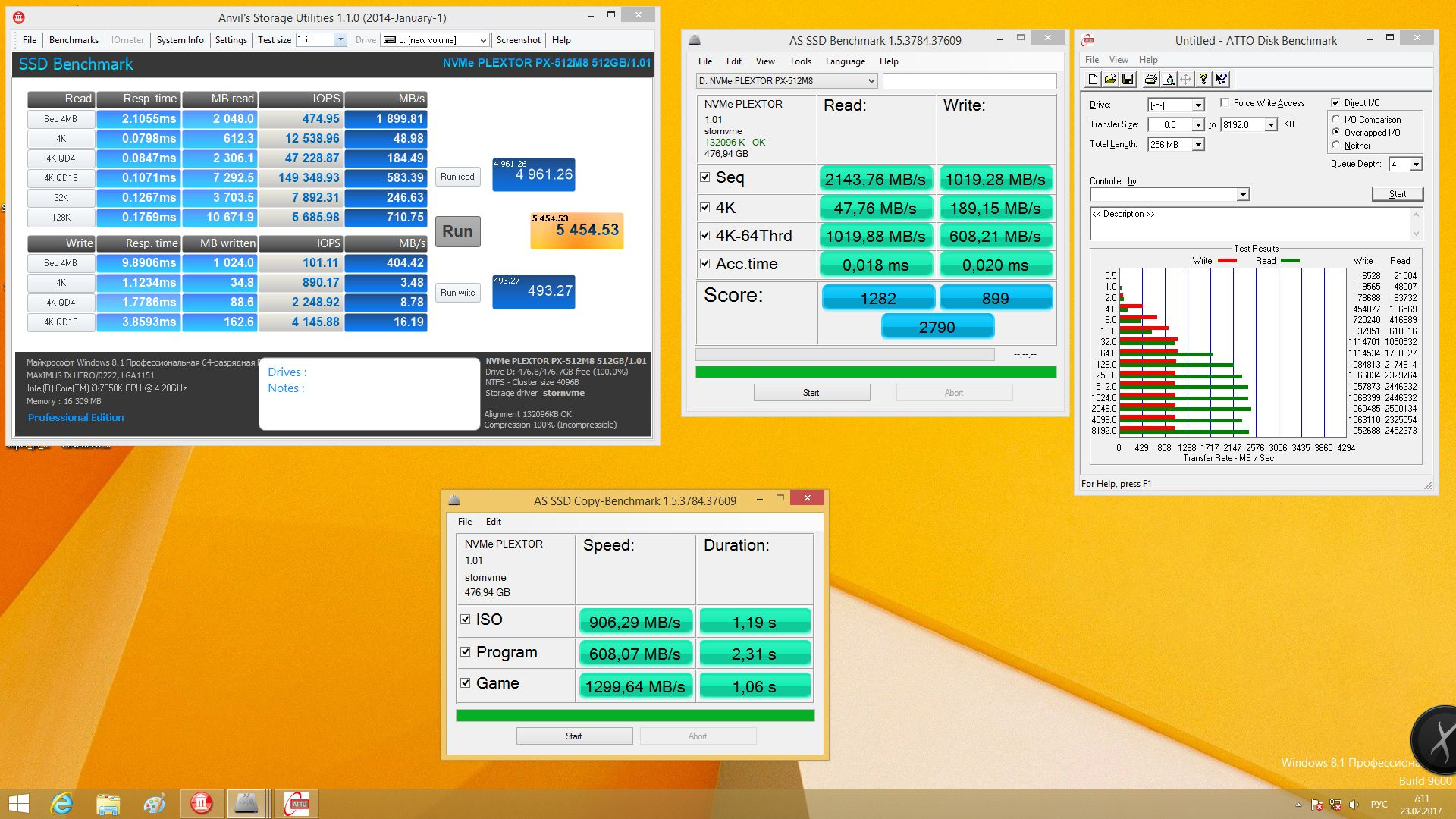 Plextor M8Pe(Y) 512 Гбайт в чистом виде