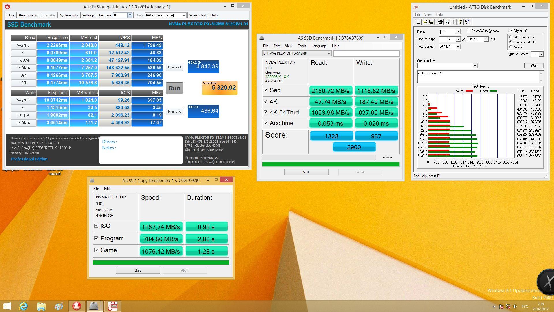 Plextor M8Pe(Y) 512 Гбайт в заполненном виде