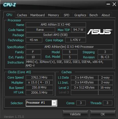AMD Athlon II X3 440 3700 MHz