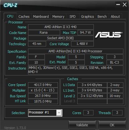 AMD Athlon II X3 440 4000 MHz