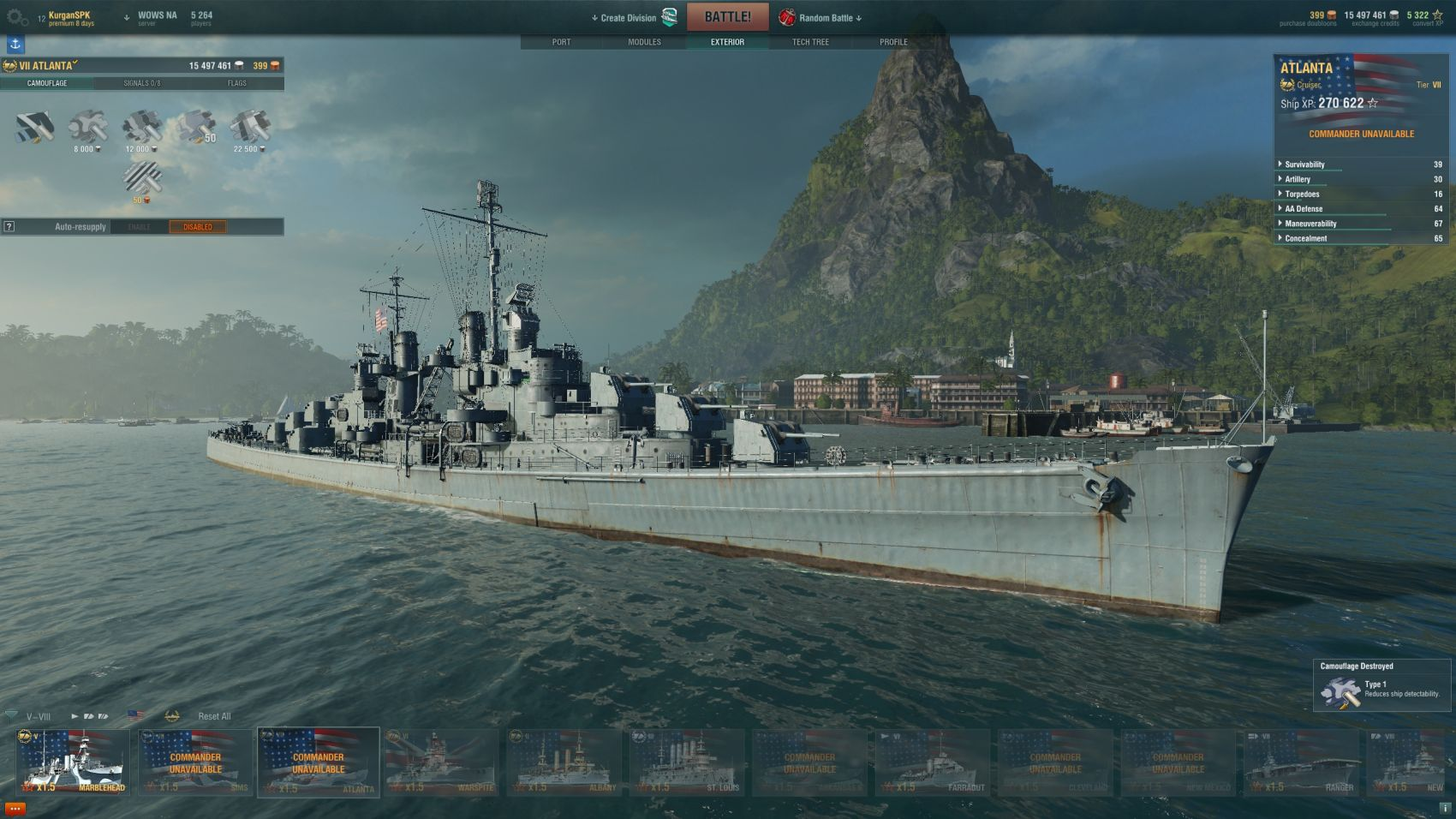 World of Warships Atlanta Skin Replacer