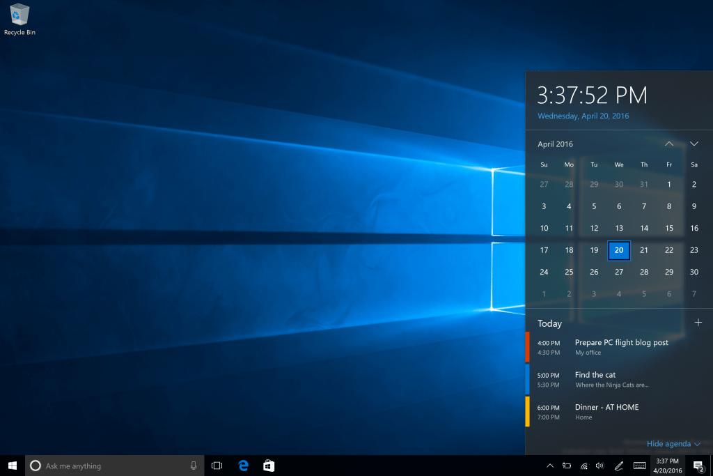 calendar windows 10