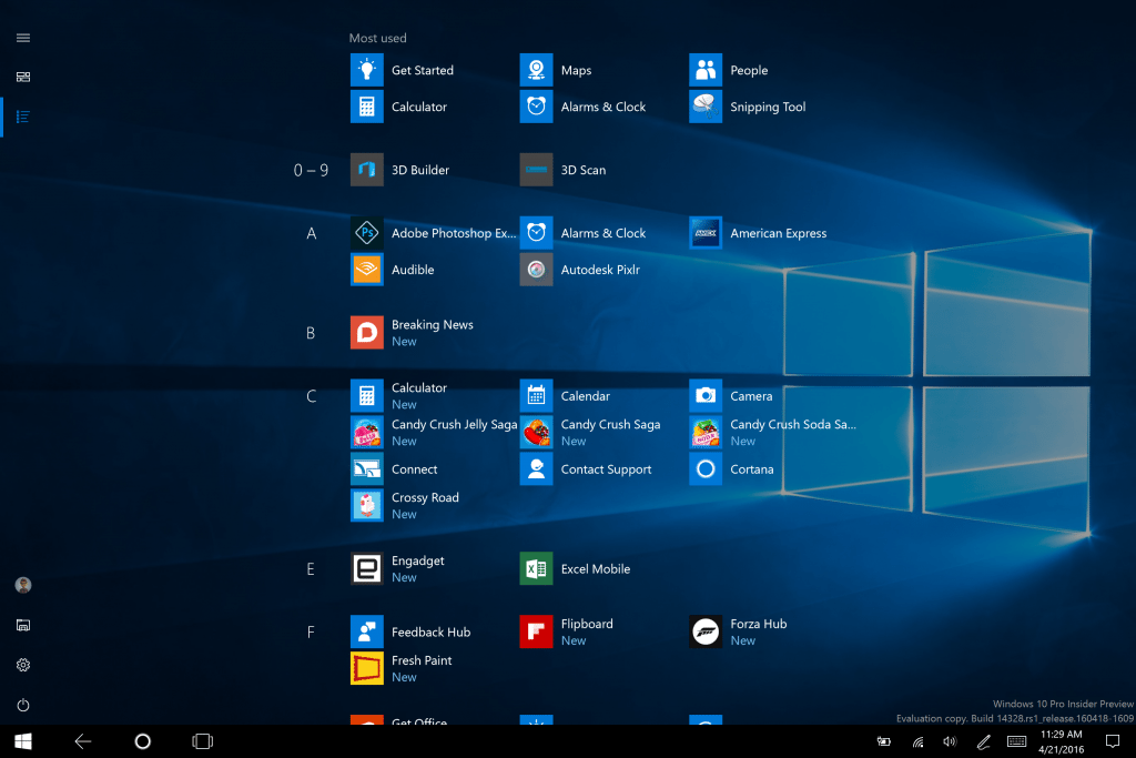 Full screen tablet Windows 10