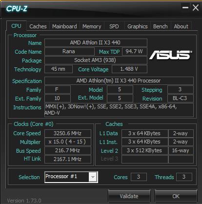 AMD Athlon II X3 440 cpu-z
