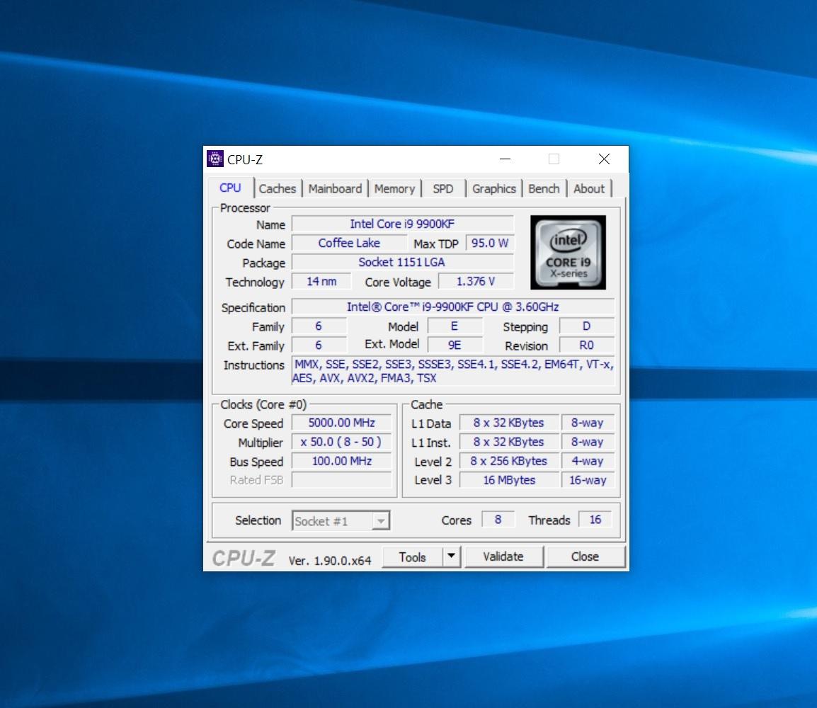 Core i9-9900KF cpu-z
