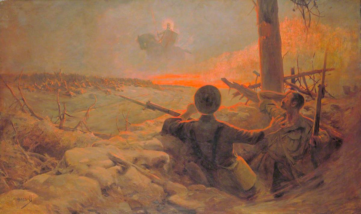 Hassall, John; The Vision of St George over the Battlefield; IWM (Imperial War Museums); http://www.artuk.org/artworks/the-vision-of-st-george-over-the-battlefield-6222