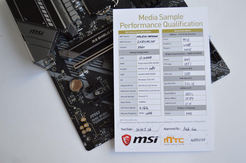MSI MAG B460 Tomahawk результаты