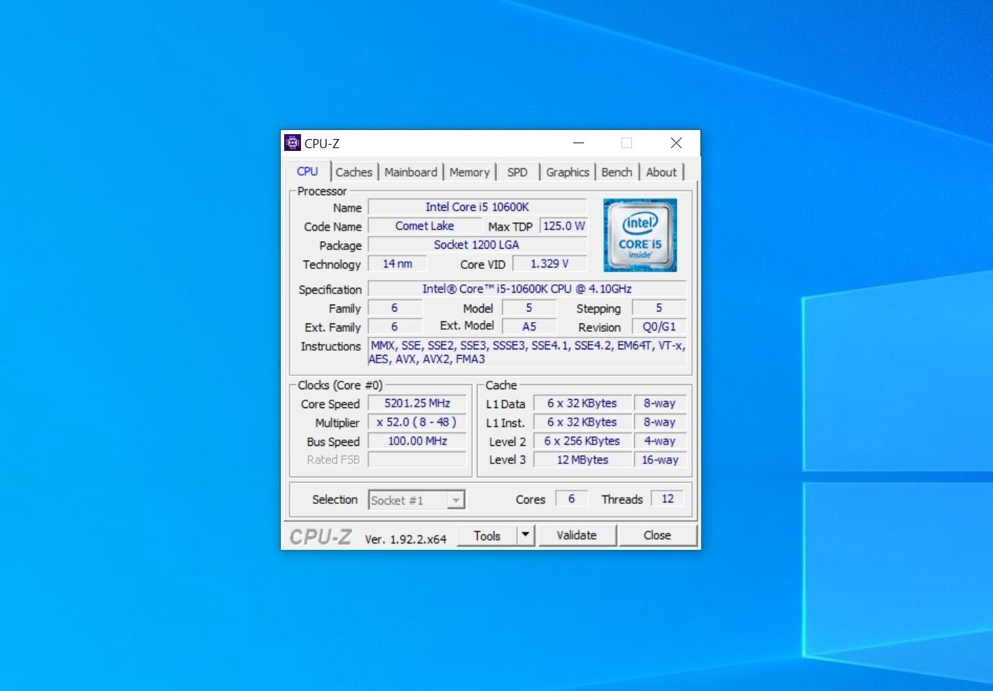Core i5-10600K и 5200 МГц