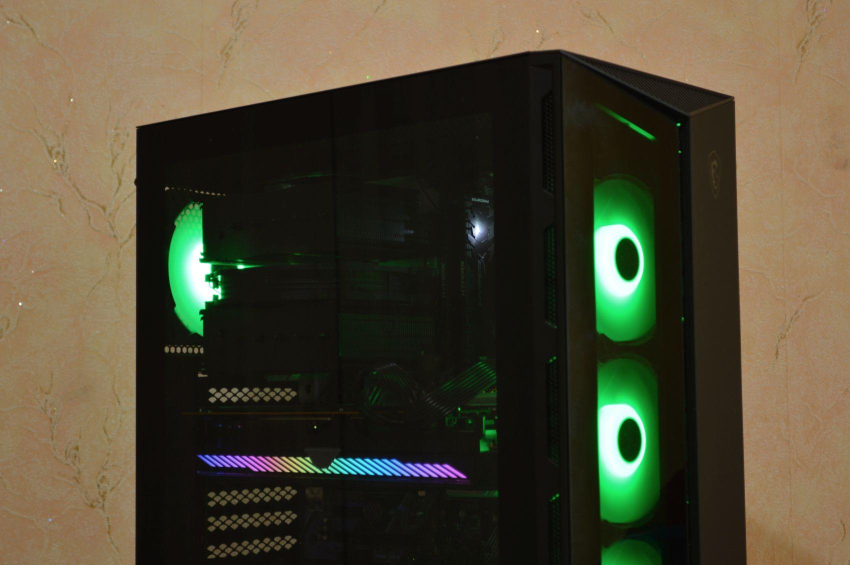 MSI MPG Gungnir 110R зеленые лампы