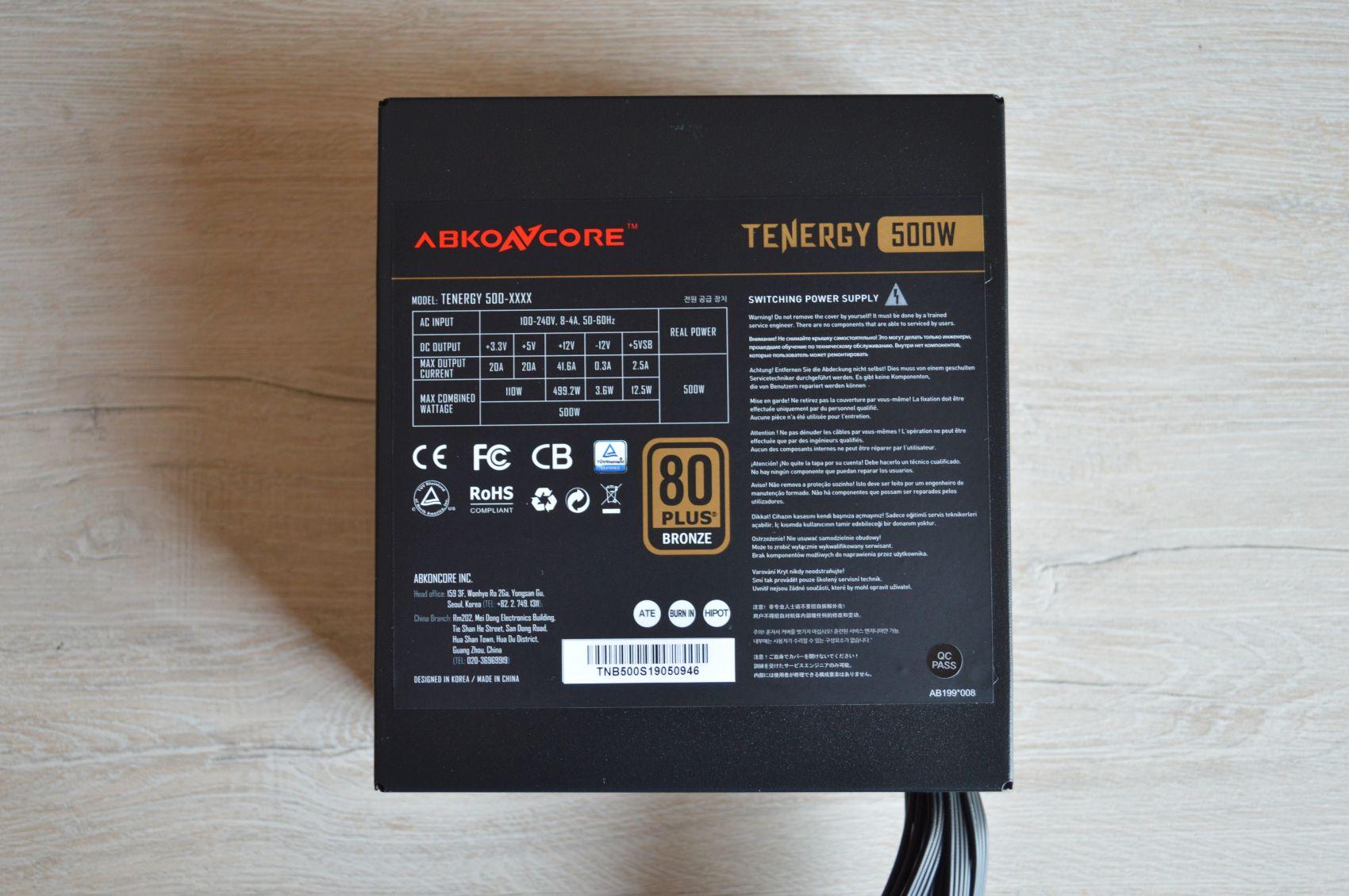 Abkoncore Tenergy 500W наклейка с данными